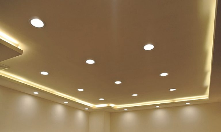 Recessed lighting installed in room