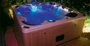 night time hot tub lights