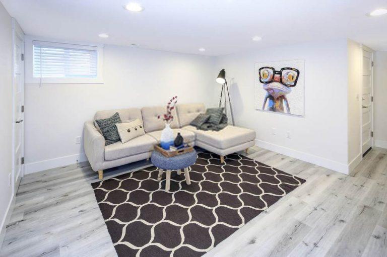 white and vinyl flooring basement finish