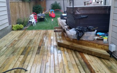 outside floating deck install pressure treated wood
