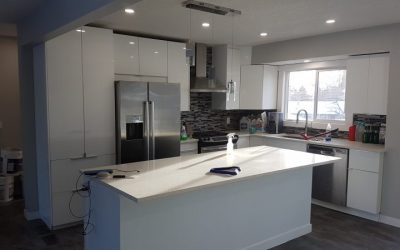 kitchen counter and cabinet install with pendent and led potlights