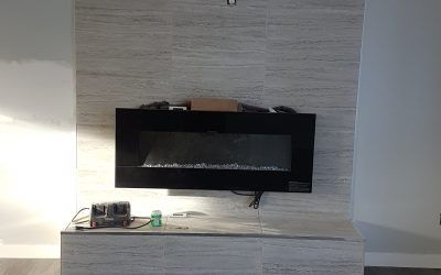 porcelain fireplace wall