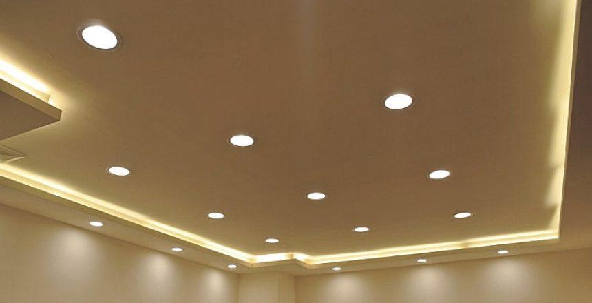 Recessed lighting installed in room